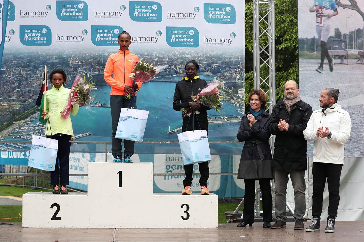 Le podium du marathon de Genève