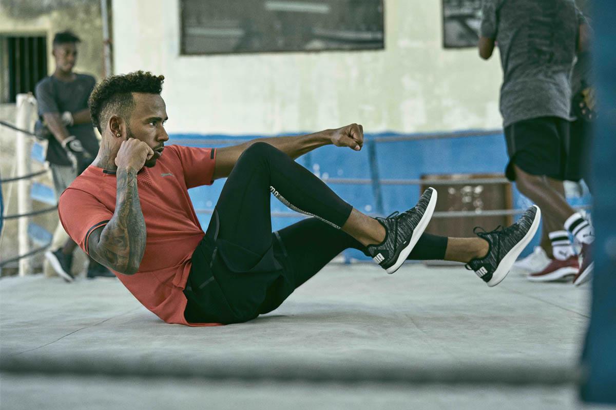 Lewis Hamilton s'entraîne avec Pume Ignite Knit