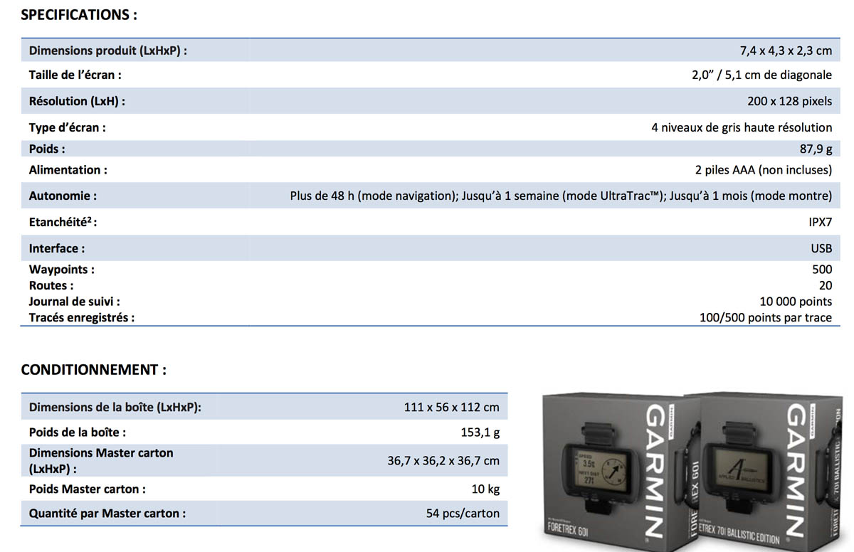 Garmin Foretrex 601 et 701